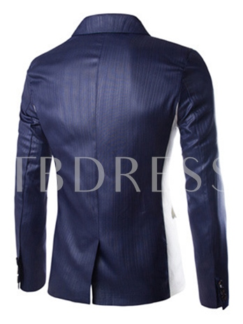 One Button Color Block Slim Men's Blazer