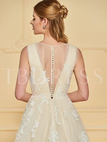 Sheer Neck Lace Appliques A-Line Wedding Dress