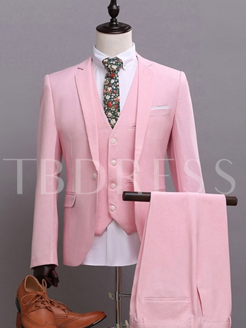 Notched Collar Pink Three Piece Slim Fit Men's Dress Suit