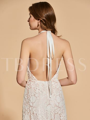 A-Line Lace Halter Backless Evening Dress