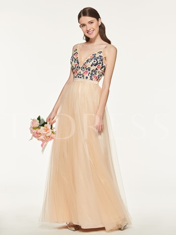 Straps Embroidery Lace Beading Bridesmaid Dress