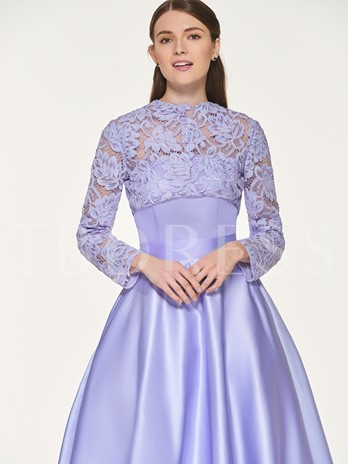 Lace Top Bridesmaid Dress with Long Sleeve