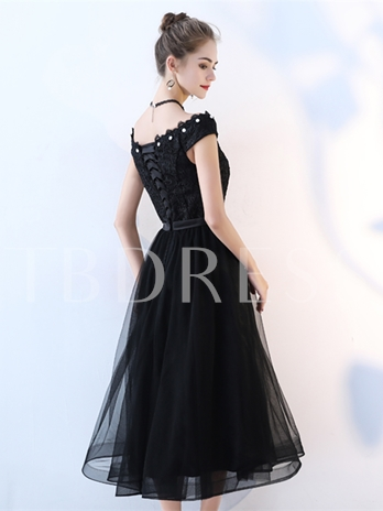 A-Line Lace Rhinestone Cocktail Dress