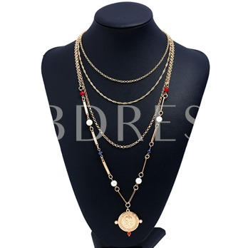 Round Imitation Pearl Multilayer Necklace