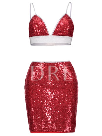Sequins Bodycon Backless Women's Two Piece Dress