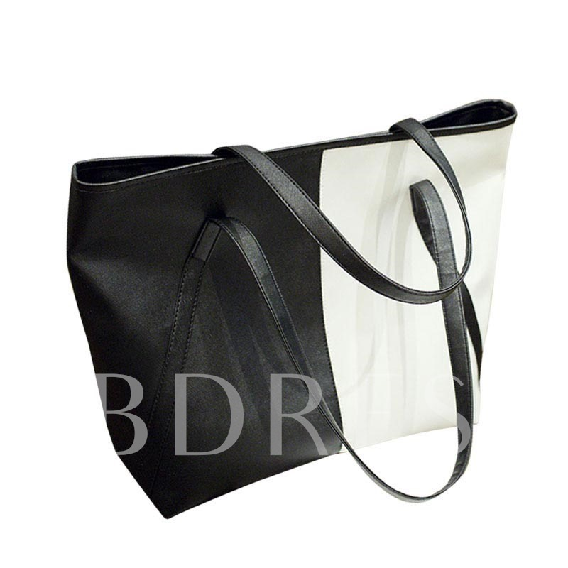 Casual Color Block PU Zipper Shoulder Bag