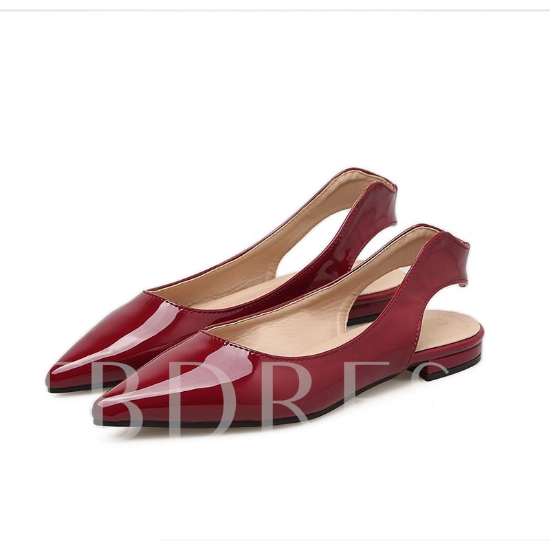 Pointed Toe Sling Back Plain Women's Flats