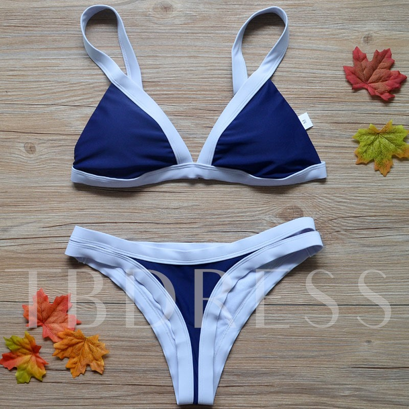 Contrast Color Adjustable Strap Women's Bikini Set