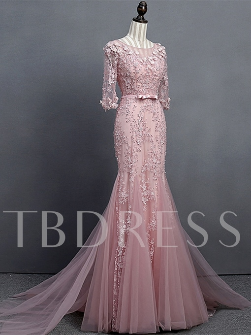 Appliques Beading Bowknot Sashes Mermaid Evening Dress