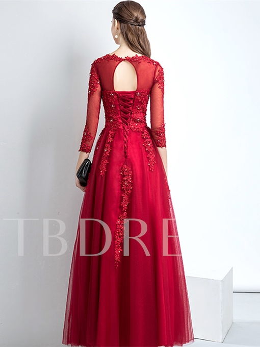 A-Line Appliques Scoop Beading Evening Dress