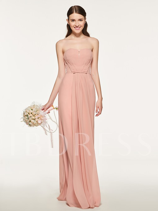 Strapless Lace Pleats Bridesmaid Dress