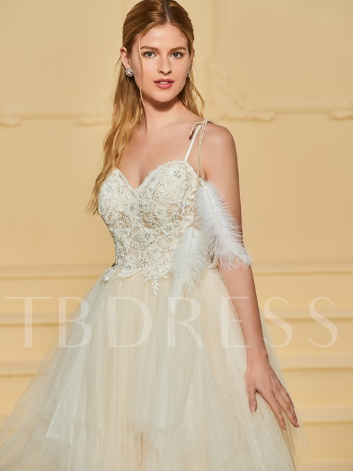 Spaghetti Straps Beading Appliques Wedding Dress