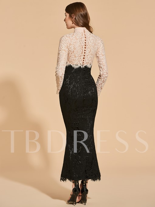 Trumpet High Neck Lace Button Cocktail Dress
