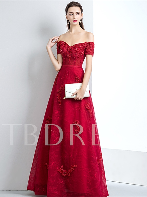 A-Line Appliques Beading Lace Sashes Evening Dress