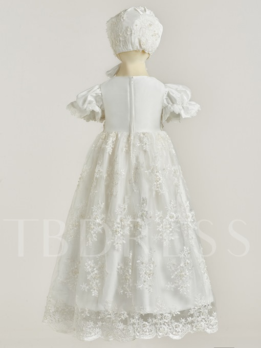 Round Neck Short Sleeves Appliques Christening Gown for Baby Girls