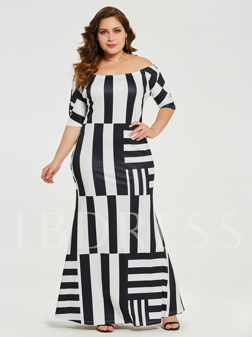 Plus Size off-Shoulder Women's Sheath Dress