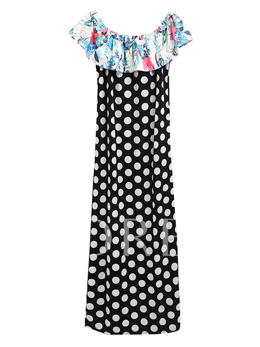 Boat Neck Polka Dots Women's Maxi Dress