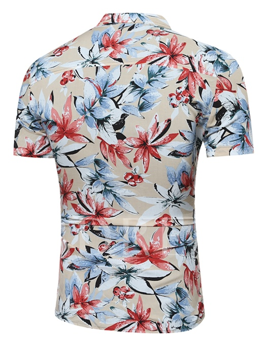 Lapel Hawaii Style Slim Fit Men's Shirt