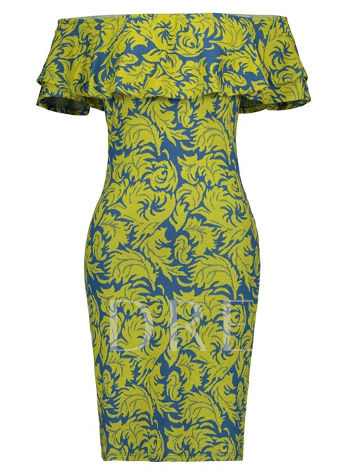 Off Shoulder Printing Women's Sheath Dress