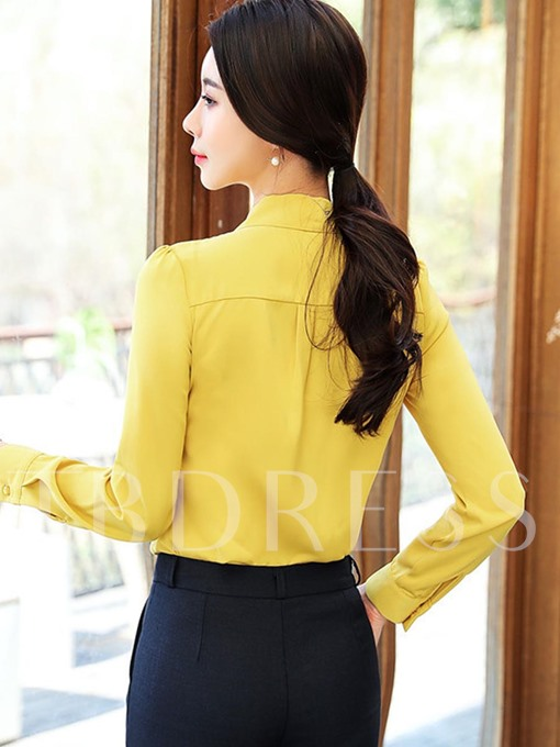 Slim Fit Lace-Up Women's Blouse With Sleeves