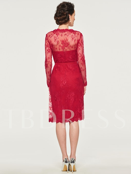 Column Mother of the Bride Dress with Lace Jacket