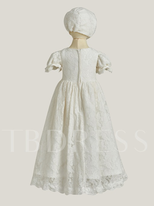 Short Sleeves Ball Gown Lace Baby Christening Dress