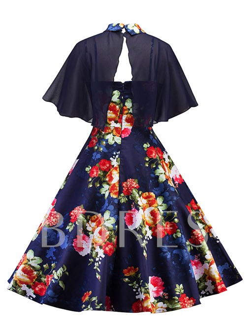Floral Peter Pan Collar Cape Women's Two Piece Dress