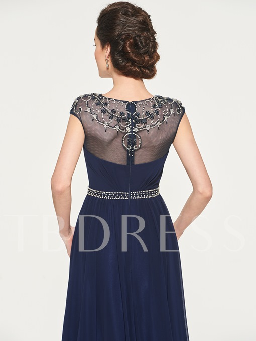 Beaded Bateau Neck Mother of the Bride Dress