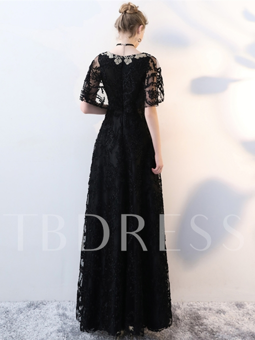 A-Line Lace V-Neck Embroidery Evening Dress