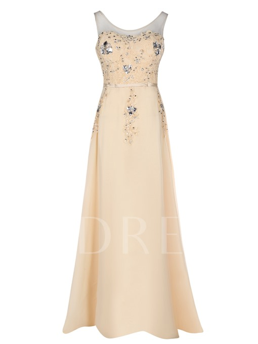 Scoop Neck Beaded Appliques A Line Evening Dress