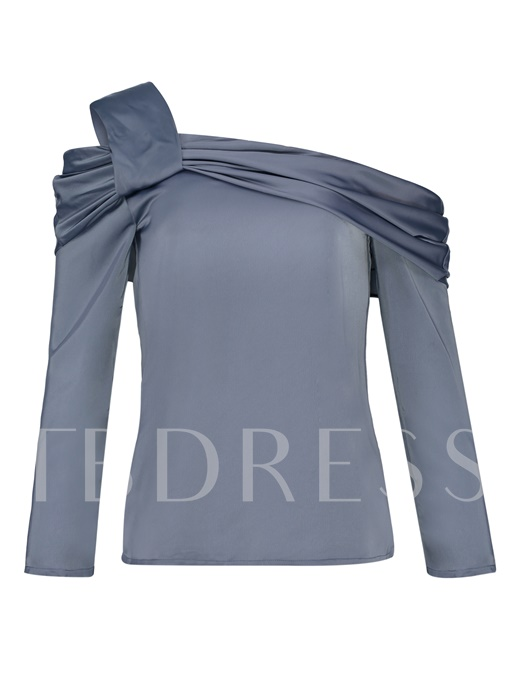 Plain One Shoulder Flutter Women's Blouse