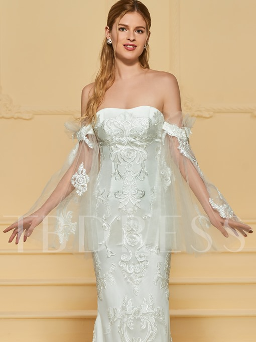 Off the Shoulder Lace Appliques Mermaid Wedding Dress