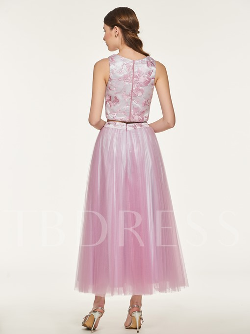 Lace Top Two Pieces Bridesmaid Dress