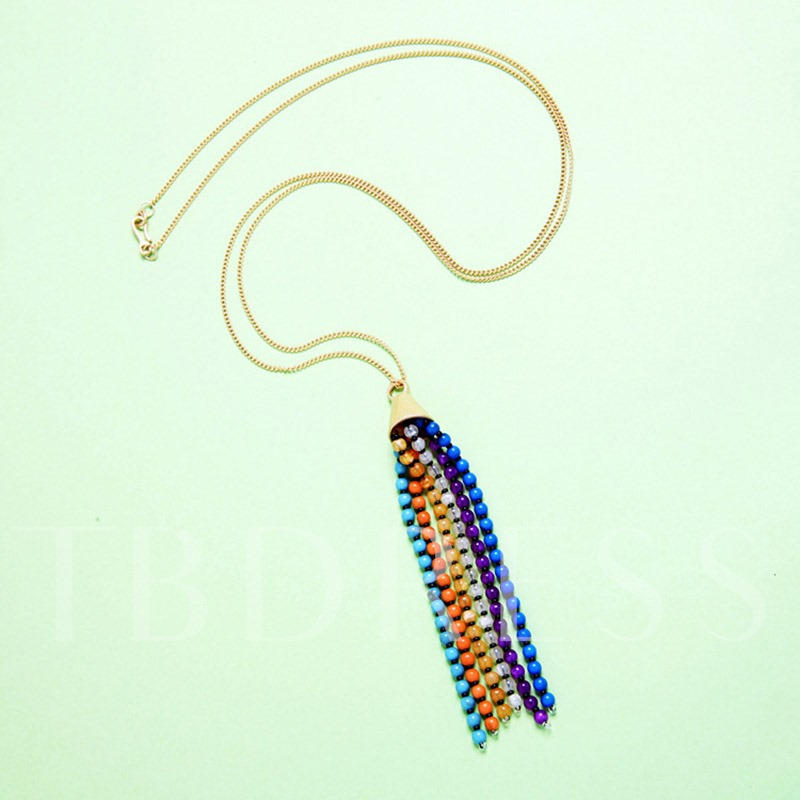 Colorful Beads Tassel Alloy Necklace