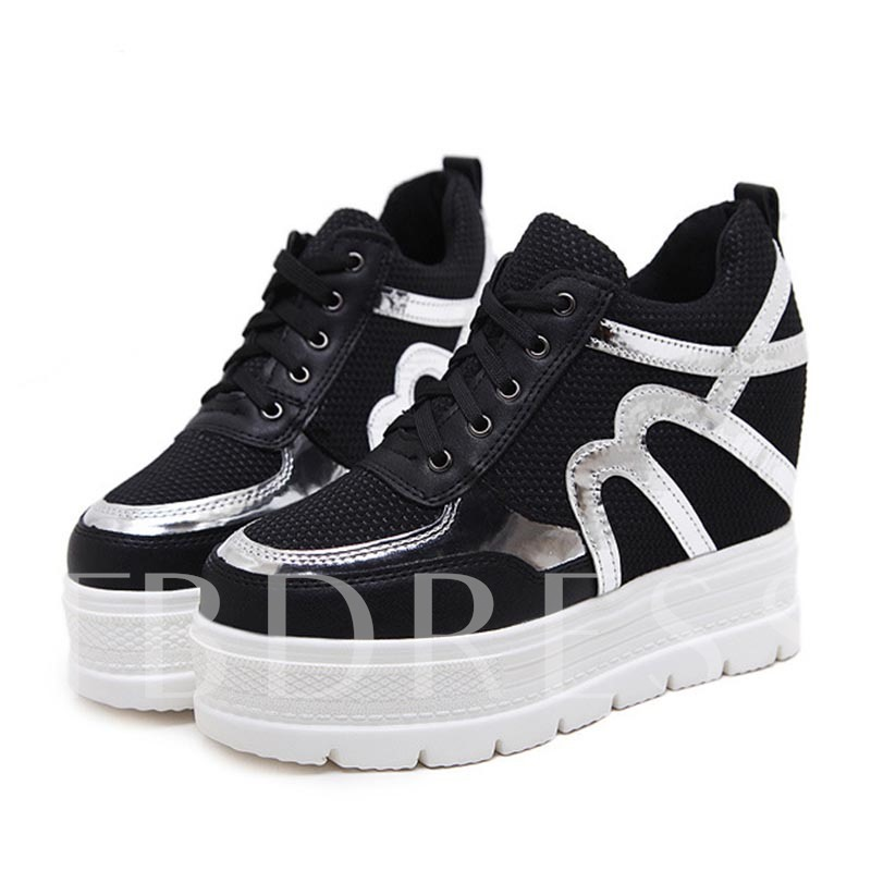 Platform Mesh Tie Up Height Heel Sneakers