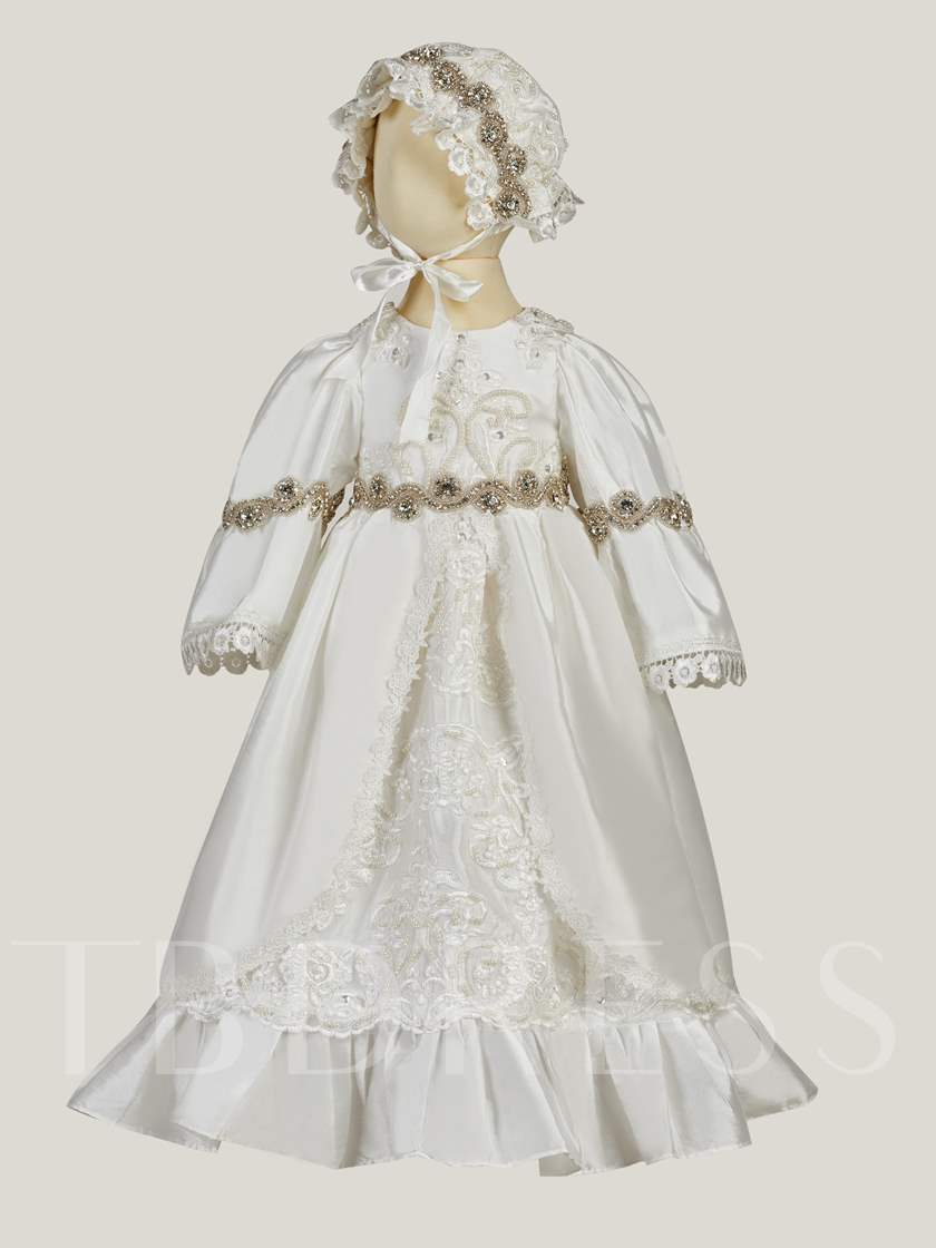 Beaded Waist Appliques Lace Baby Girl's Christening Gown