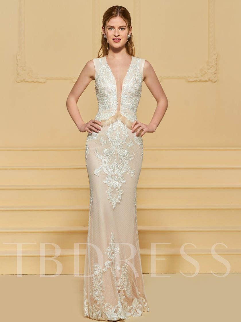 Deep V-Neck Ruffles Lace Sheath Wedding Dress