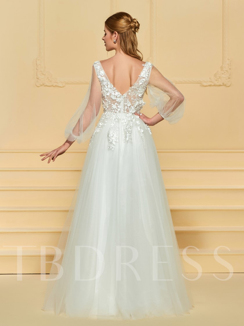Flowers Appliques Wedding Dress with Sleeve