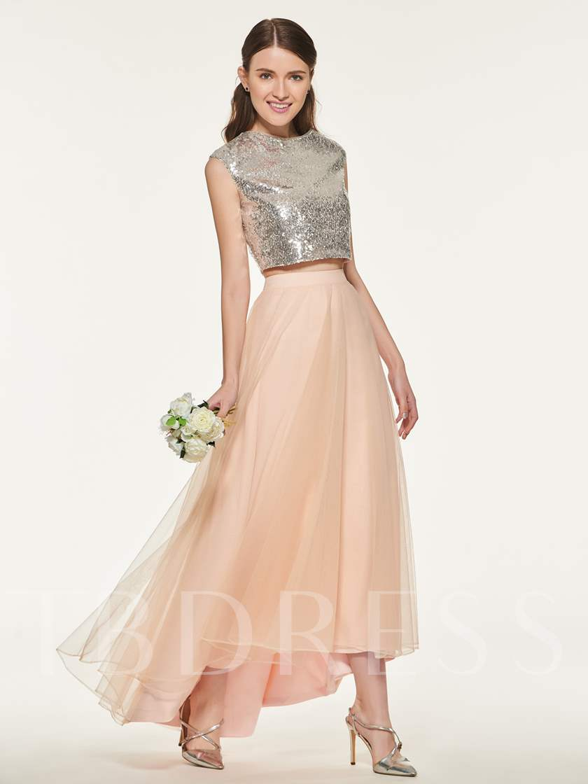 Sequined Two Pieces High Low Bridesmaid Dress