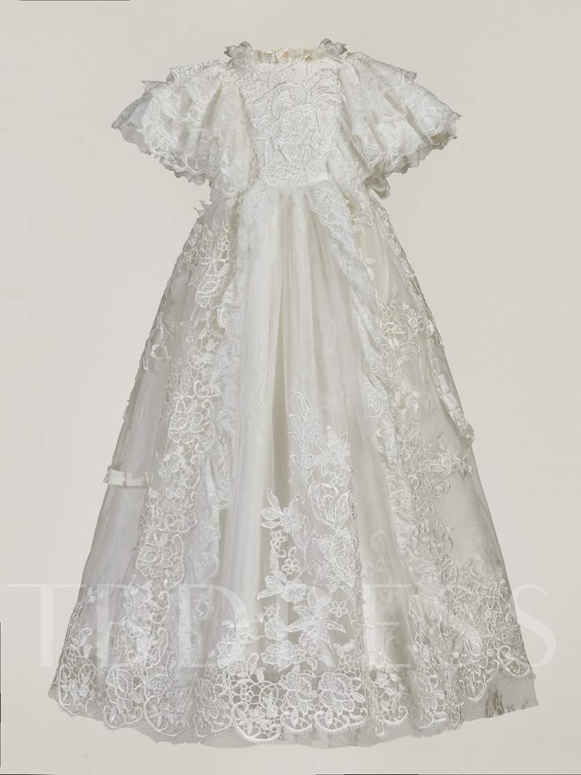 Cap Sleeve Lace Baby Girl's Christening Gown