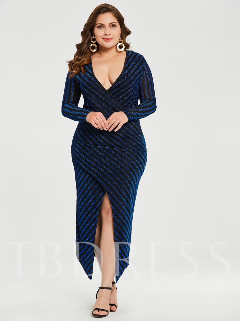 Plus Size Sequins Patchwork Women's Sheath Dress