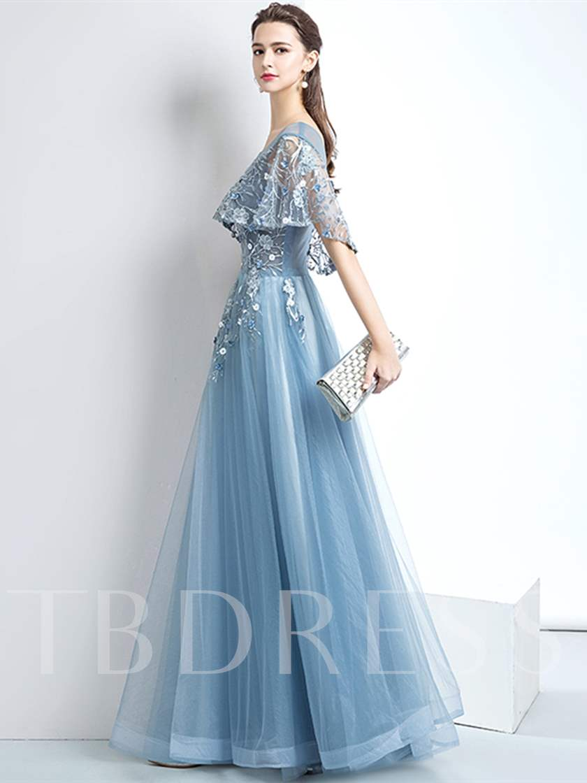 A-Line Scoop Flowers Pearls Evening Dress