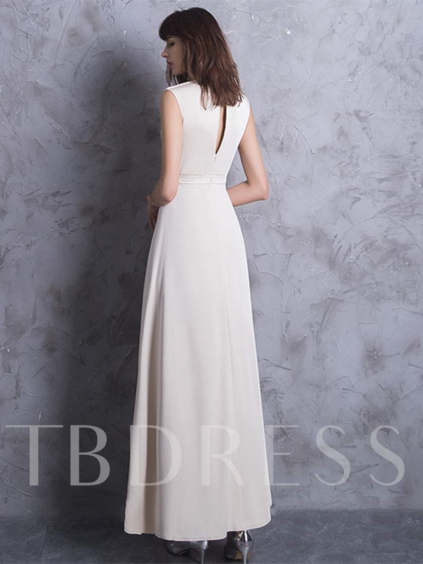 Bowknot Pleats V-Neck A-Line Evening Dress