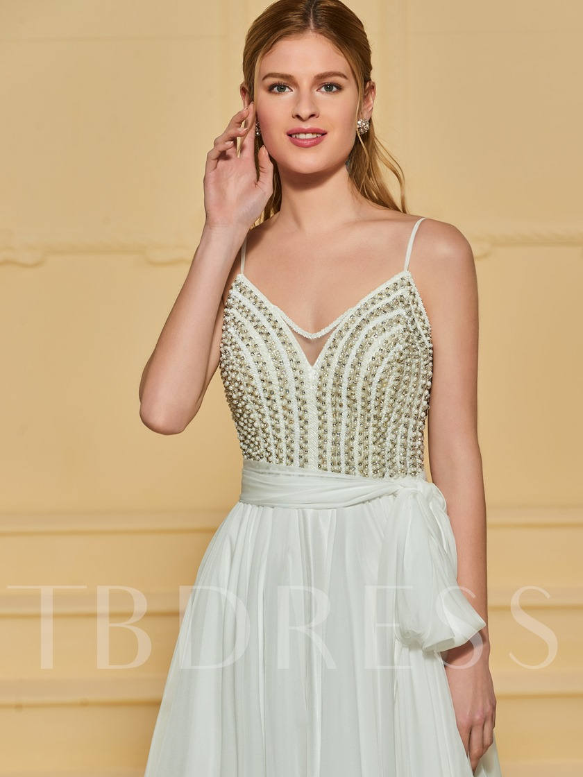 Spaghetti Straps Beading Pearls Wedding Dress