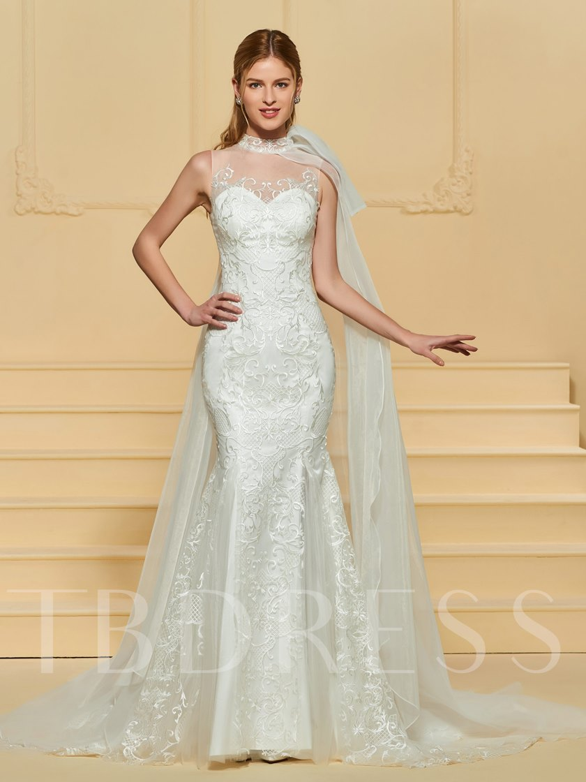 High Neck Lace Mermaid Wedding Dress with Train