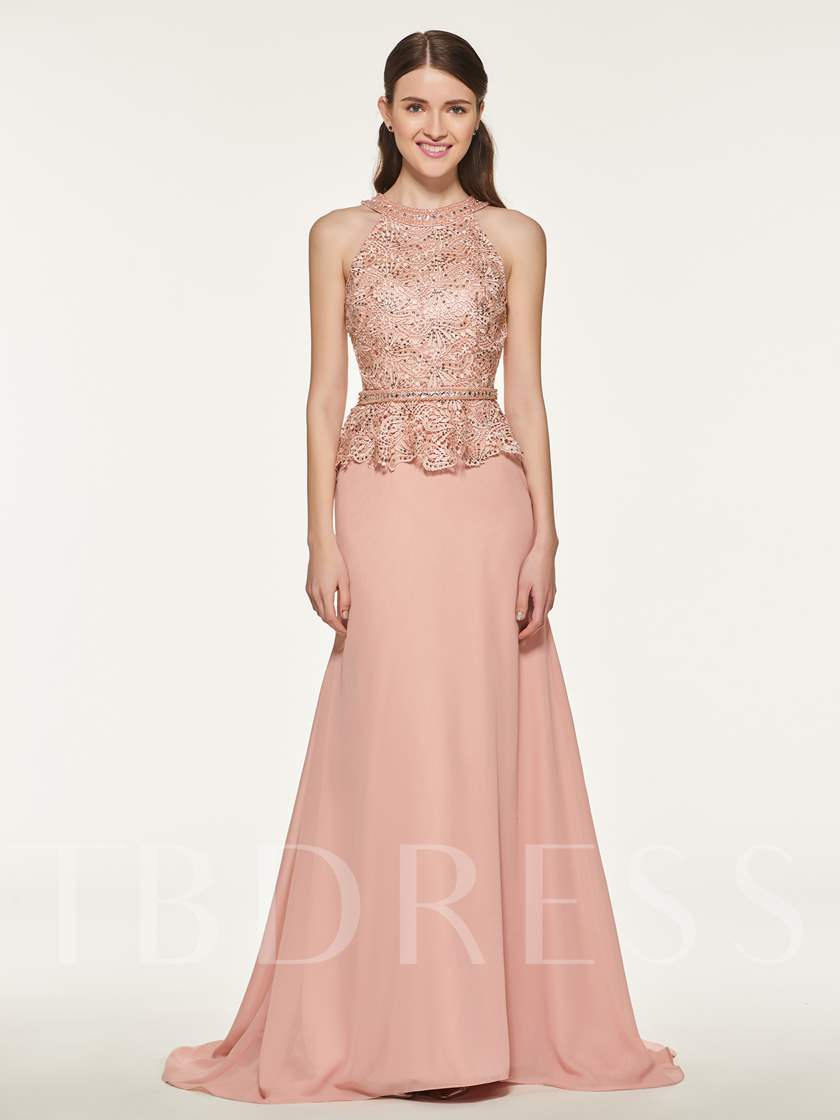 Halter Beading Lace Mermaid Bridesmaid Dress