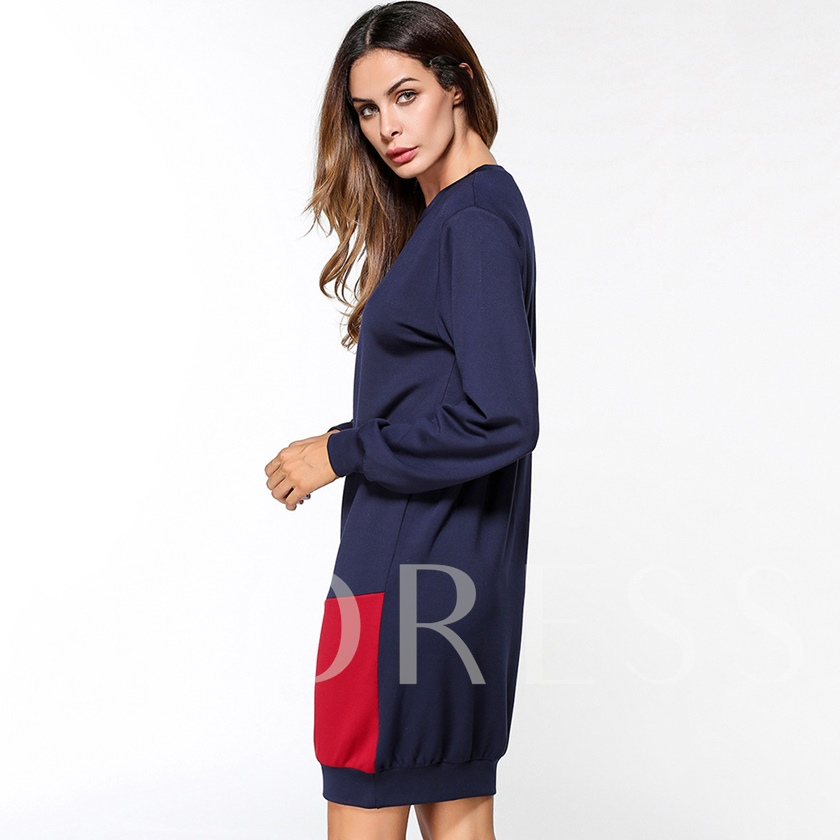 Color Block Long Sleeve Women's Day Dress