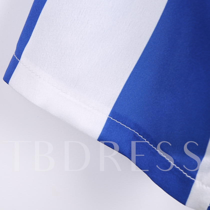 Striped Half Sleeve Blue Women's Day Dress