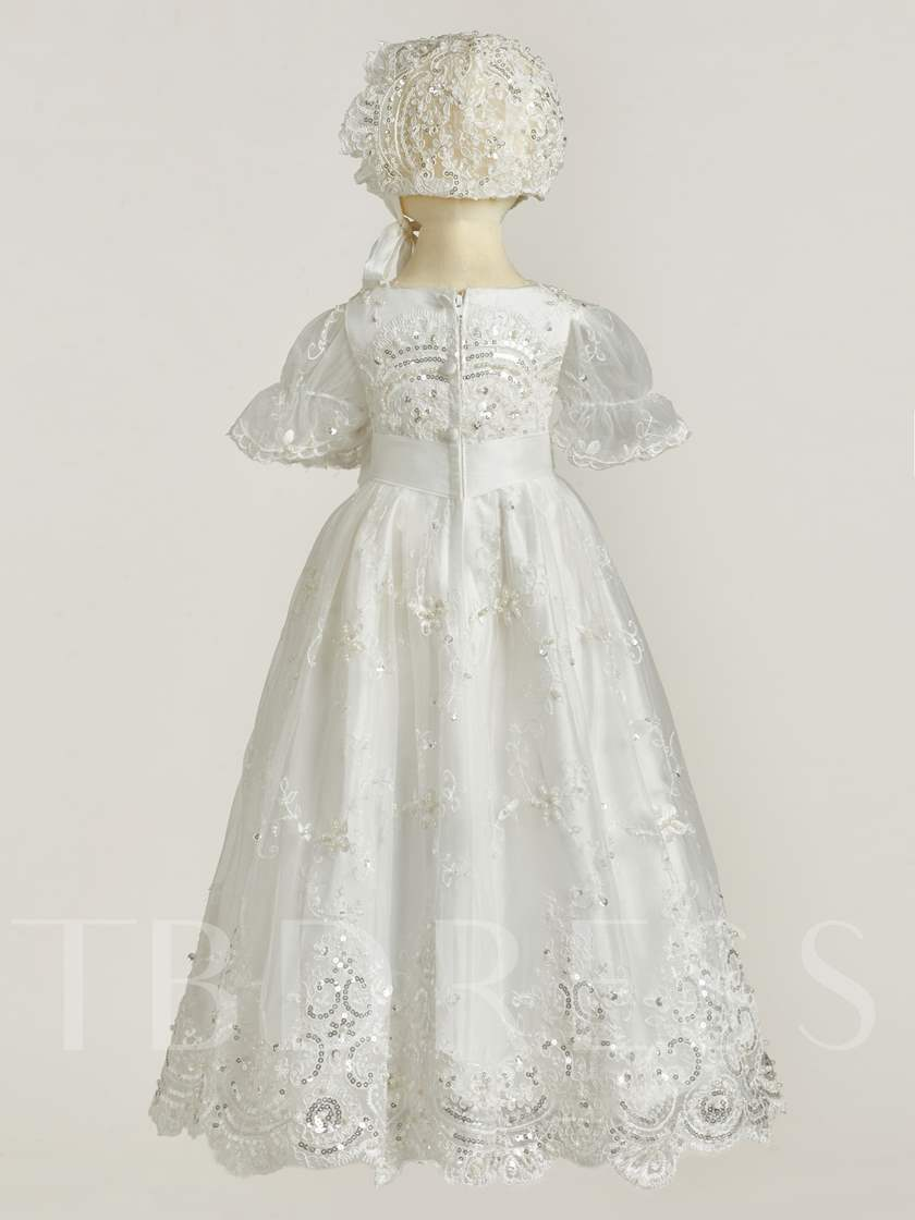 Short Sleeve Appliques Baby Girl's Christening Gown