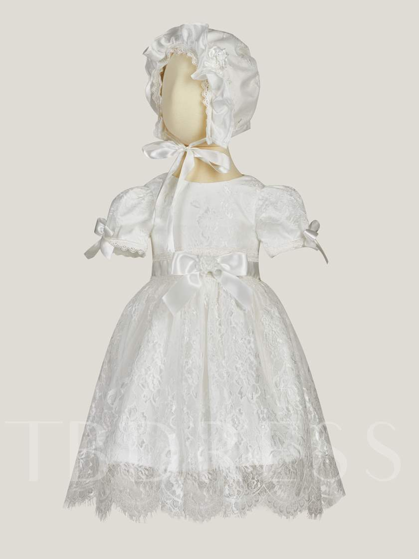 Lace Bowknot Bonnet Christening Gown for Girl